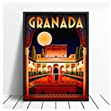 Alhambra Granada España Travel Poster Print Digital Wall Art Canvas Painting Vintage Pictures Home Decor -60x80cm Sin marco