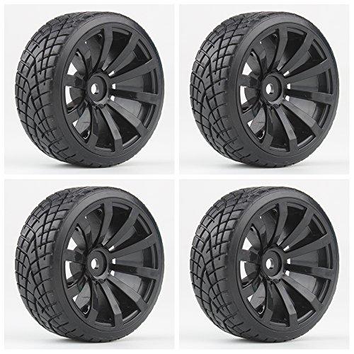 Shaluoman RC Car Drift Tires Tyre and Wheels 10-Spoke Black for HSP HPI 1/10 Scale Drift Car 4pcs