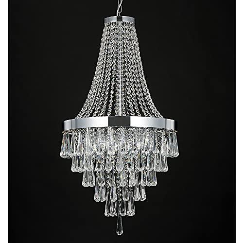 Berliget Empire French Modern Chrome Raindrop Crystal...