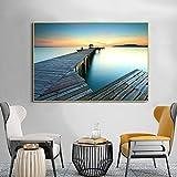 ganlanshu Muy Hermosa decoración del hogar del Puente de la Sala de Estar Moderna del Cartel del Arte de Madera de la Vista al mar,Pintura sin Marco,40X60cm