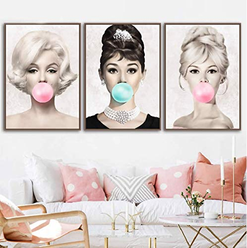 QINGRENJIE Audrey Hepburn Kaugummi Wandkunst Leinwand Mode Poster Marilyn Monroe Drucke Gemälde Bilder Wohnkultur 3 Stück 40 * 60 cm * 3 ohne Rahmen