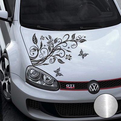 A456 Blumenranke Autoaufkleber + 3 Schmetterlinge 77cm x 50cm chrom (Farb-/Größenwahl)