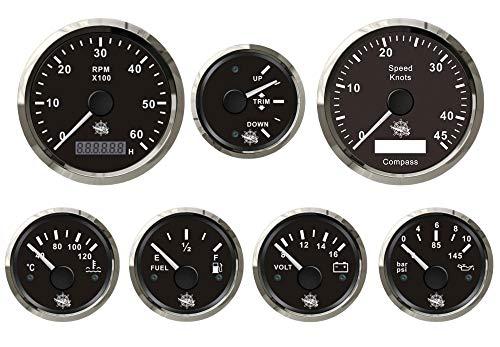 Saarwebstore 7er Instrumentensatz schwarz mit Chrome GPS digital Mercruiser/Volvo Penta Alpah One Bravo Duoprop Instrument für Innenbordmotoren