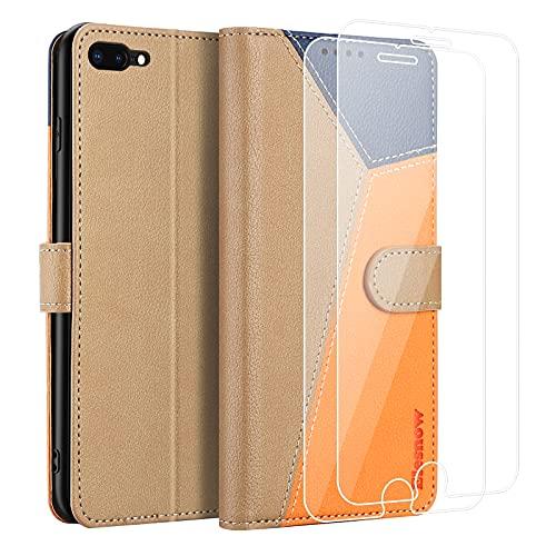 ELESNOW Funda para iPhone 7 Plus / 8 Plus con [Templado Protector de Pantalla] Carcasa Magnética Tarjetero Tapa de Cuero para Apple iPhone 7 Plus / 8 Plus - 5.5' (Caqui/Orange/Azul)