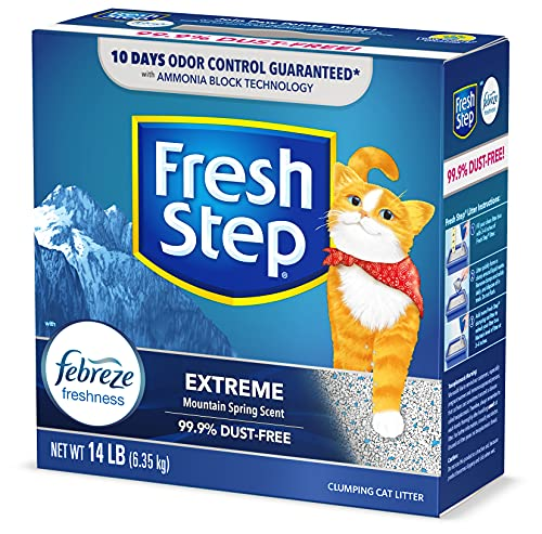 Fresh Step Extreme Scented Litter with the Power of Febreze, Clumping Cat Litter Mountain Spring, 14 Pounds (Package May Vary)