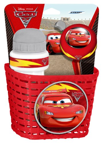 Stamp SAS Cars Combo Basket, Drinking Bottle and Bell, Niños, Red, 3+