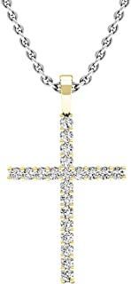 0.30 Carat (ctw) Round White Diamond Ladies Cross Pendant 1/3 CT (Silver Chain Included), Gold