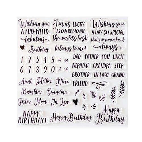 Birthday Sentiment Stamps for Card Making - 8x8 Inch Set of Acrylic Stamps for Making Cards - Clear Stamps for Card Making - Craft Stamps are Great Card Making Supplies