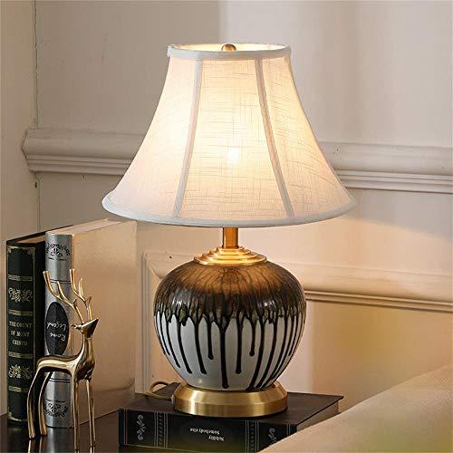 Lámpara de mesa decorativa de estilo europeo para sala de estar, estudio, dormitorio, tela de cobre, lámpara de mesa de cerámica nórdica, lámpara de mesa decorativa Hotel-C