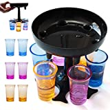 DIQUEQI 6 Ways Shot Glass Dispenser with 6 Cups Hanging Holder Stand Rack Carrier Caddy Liquor Dispenser Gifts Drinking Games for Bar Home Cocktail Party Blue (6 coloured bullet cup)