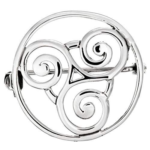 Broche de plata de ley 925 con diseño de triskelion celta (5846)