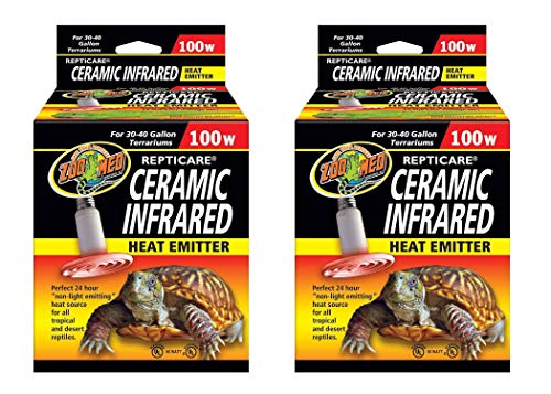 Zoo Med 2 Pack of ReptiCare Ceramic Infrared Heat Emitters, 100 Watt, for 30 to 40 Gallon Terrariums