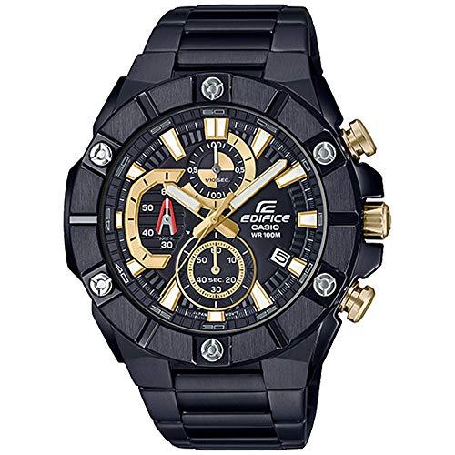 Reloj cronógrafo de Cuarzo Casio Edifice para Hombre con Esfera Negra Pulsera Oyster en Acero Chapado en IP EFR-569DC-1AVUEF