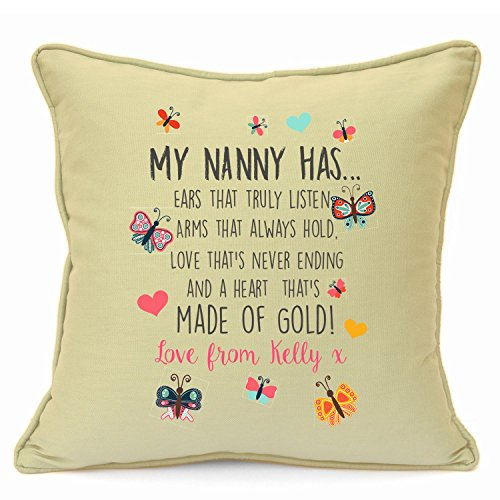 Personalised Presents Gifts For Grandma Nanny God Mother Birthday Mothers Day Christmas Xmas Heart Touching Poem Keepsake Cushion Cover 18 Inch 45 Cm Unusual Special Unique Idea Home Decor