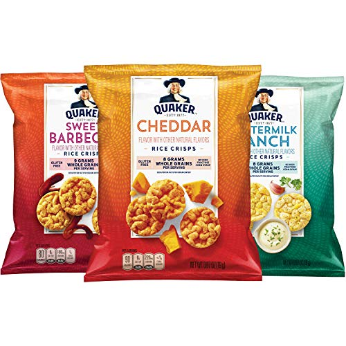 Quaker Popped Gluten Free Rice Crisps Variety Pack, 0.67 Ounce Bags, 30 Count