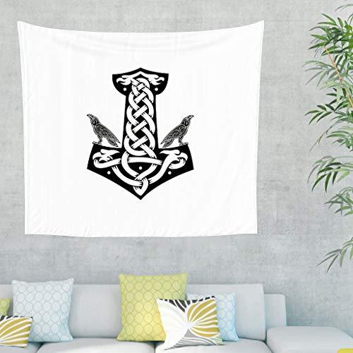 Zwarte en witte Vikinghamer Rabe twee tatoeages wandkleed tapijt Keltisch kraaien knopen wandtapijt Scandinavische symbolen betekenissen legende mythologie wandkleed 150x130cm wit