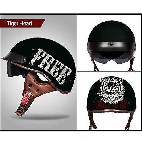 MMGIRLS Mode Persönlichkeit Harley Helm Motorrad Scooter ATV Outdoor Sport Helm & abnehmbare Futter - Tiger Icon,XXL