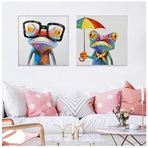 Rana feliz con gafas Póster de arte de pared Pintura de animal de dibujos animados lindo pintado en lienzo Sala de estar moderna Decoración para el hogar Regalo 40x40cm Sin marco