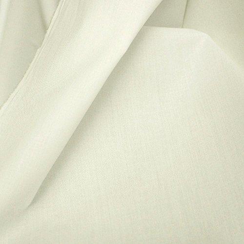 TOLKO Baumwollstoff aus 100% Oeko-Tex Baumwolle | 25 leuchtende Farben Uni | 150cm breit Baumwoll-Nesselstoff als Kleiderstoff Dekostoff Vorhang-Stoff Bezugsstoff Webstoff Meterware 50cm (Creme)