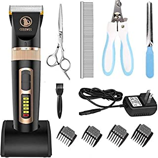 Ceenwes Dog Clippers Heavy Duty Low Noise Rechargeable Cordless Pet Clippers Professional Dog Grooming Clippers with Power...