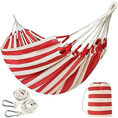 INNO STAGE 10FT Brazilian Double Hammock 2 Person Canvas Cotton Hammock with Carrying Bag - Woven Hammock for Patio, Backyard, Porch, Outdoor and Indoor Use - Soft Cotton Fabric Hammocks