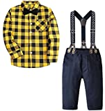 Baby Toddler Boy's Tuxedo Outfits Set, Plaid Button Down Long Sleeves Shirt & Suspender Pants with Bow Tie, Yellow Black, Tag 60 = 3-9 Months