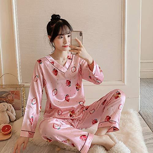 QWKLNRA Conjunto Pijama Seda Mujer,Conjunto De Pijama De Seda Rosa con Estampado De Frutas para Mujer, Traje De Casa De Manga Larga, Ropa De Estar/para Todas Las Estaciones, L