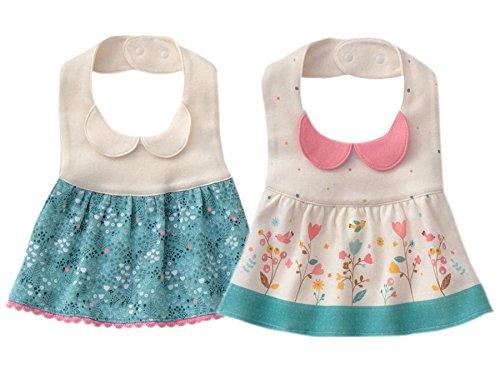 GZMM Baby Girls Princess Type Waterproof Bibs with Adjustable Snaps,2 Pack