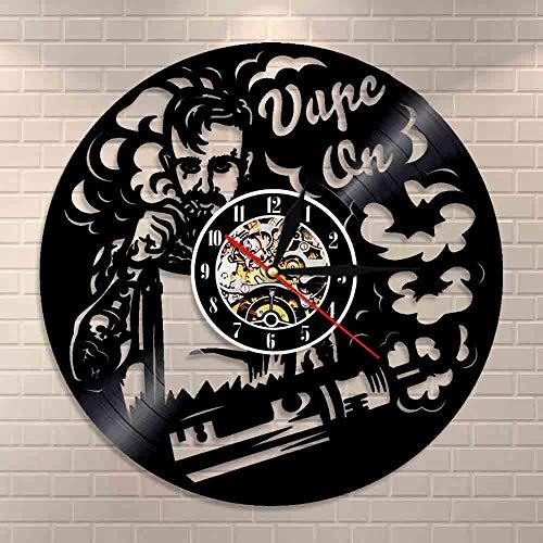 Vape Shop - Reloj de pared con logotipo para cigarrillo electrónico, vinilo, vaporizador, café, humo, decoración de pared, regalo Vape