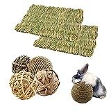 Juguetes Conejo,6 pcs Juguetes para Masticar Conejos,Bolas de ratán Tejidas,Paja práctica diversión Segura Suministros para Mascotas pequeños Juguetes molares de Juguete Bolas de Limpieza de Dientes