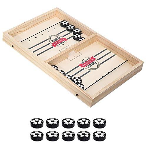 Fast Sling Shot Puck Game - Wooden Desktop Battle Foosball Winner Board Game - Bounce Portable Table Sauce Toss Hockey Game for Kids Adults