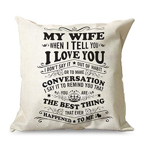 IOVEQG To My Wife Love - Funda de cojín funcional de colores brillantes con cremallera oculta para oficinas, estilo Sunshine blanco, 45 x 45 cm