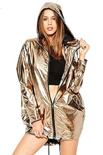 Damen Mantel Reißverschluss Kapuzenpulli Wasserdicht Falsche Metallic Casual Jacke Gold L