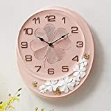 Miwaimao Reloj de Pared De Estilo Europeo Reloj De Pared del Jardín Retro Salón Americana Reloj De Pared De Tabla Creativa Mesa De Cuarzo Decoración Colgante De Silencio (28 * 32.5cm)