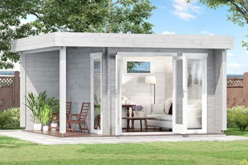 CARLSSON Alpholz Gartenlounge Dani-44 aus Massiv-Holz | Gartenhaus mit 44 mm Wandstärke | Garten Holzhaus inklusive Montagematerial | Geräteschuppen Größe: 448 x 398 cm | Flachdach