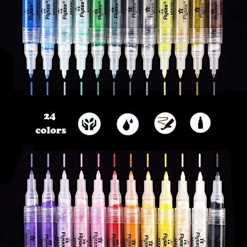 Aliyer Acrylstifte Marker Stifte,24 Colors Permanent Marker Multi Farben 0.7mm Strichstärke, ungiftig, zum Bemalen von Steinen, Keramik, Glas, Leinwand, Tassen, Holz und Ostereiern. (24 Color)