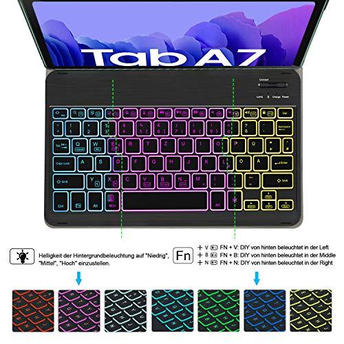 IVSO Tastatur Kompatibel mit Samsung Galaxy Tab A7 10.4 2020, mit Panzerglas, [QWERTZ Deutsches], Abnehmbar Beleuchtete Tastatur Hülle Kompatibel mit Samsung Galaxy Tab A7 T505/T500/T507, Schwarz