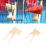 Girasool Tenedor de frutas para loro de mascotas, 2 piezas de plástico para alimentación de loros, jaula de pájaros, soporte de alimento, clip para alimentador de animales pequeños (S: 3 x 1,5 cm)