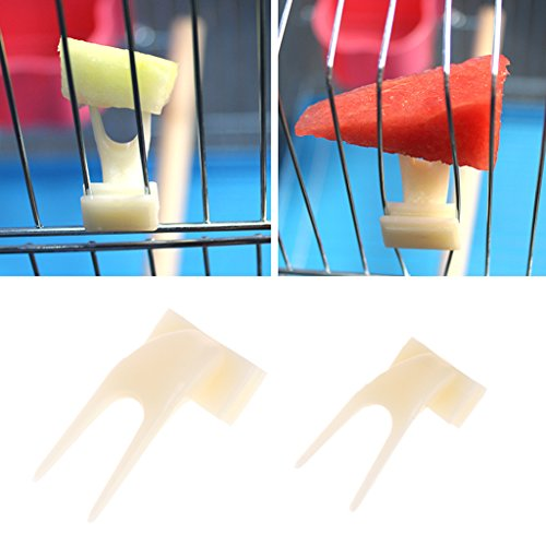 Girasool Papageien-Frischgabel aus Kunststoff, für Papageien, Vogelkäfig-Zubehör, Vogelfutter-Halter mit Stift-Clip, für Kleintier-Futterstation (S: 3 x 1,5 cm)