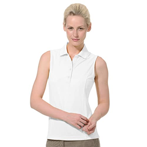 041766c61551f1 Monterey Club Ladies Dry Swing Solid Lightweight Pique Sleeveless Polo  2064