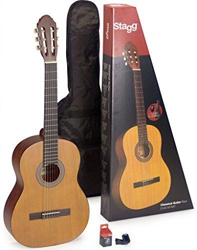 Stagg C430 M NAT PACK Gitarrenset 3/4 Natural klassische Gitarre mit Stimmgerät und Tasche