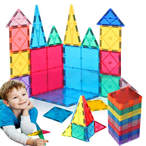 HOMOFY Kids Magnet TilesToys 60Pcs Oversize 3D Magnetic Building Blocks Tiles Set,Inspirational Educational Toys for 3 4 5 6 Year Old Boys Gilrs Gifts