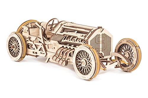 UGEARS 70044 U-9 Grand Prix Rennwagen Modellbauauto selber Bauen-Retro Oldtimer Auto mit Motor und Handkurbel Modellbausatz aus Holz,