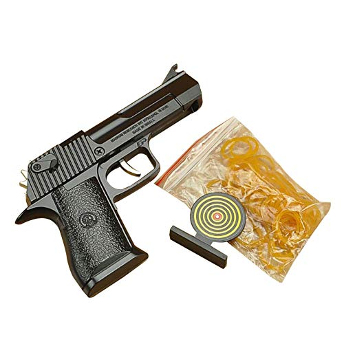 Foldable rubber band gun toy Classic mini foldable and easy to load mini metal rubber gun With target *1 rubber band *40 (3 colors)