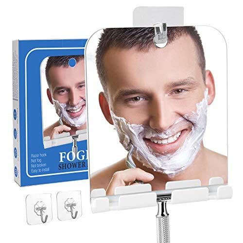 Fogless Shower Mirror for Shaving with Razor Hook,Anti-Fog Bathroom Shaving Mirror for Shower,Acrylic Shatterproof Small no Fog Mirror,Lightweight Portable Fog Free Mirror for Wall Hanging(Square)