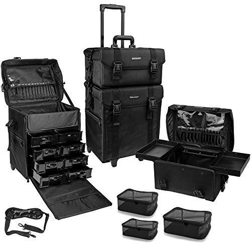 SHANY Soft Makeup Artist Rolling Trolley Cosmetic Case with Free Set of Mesh Bags - Jet Black