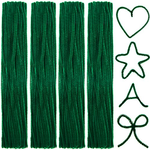 400 Pieces Pipe Cleaners Jumbo Chenille Stem Fluffy Chenille Stem for DIY Art Craft (Green)