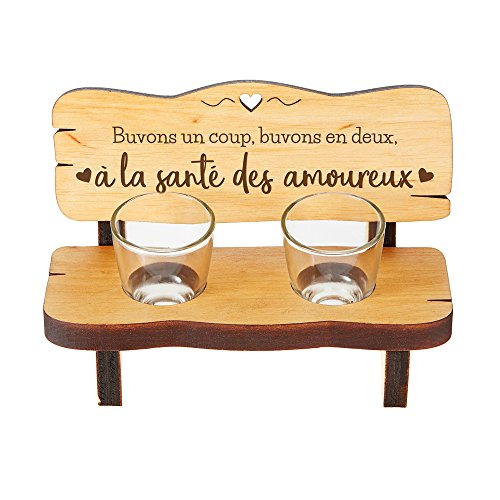 Casa Vivente Mini Banc en Bois d'Aulne avec 2 Verres à Shot, Gravure À la Santé des Amoureux, 16,5 x 8 x 8 CM