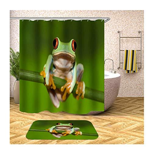 Amody Teppich Badezimmer Duschvorhang Set Frosch 180x200CM Bad Vorhang Anti Schimmel 40x60CM Badematte für Badewanne