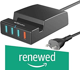(Renewed) Portronics Q-Charger Portable Universal Charging Hub with a QC 3.0 and 3 5V USB Ports and a Mobile Docking Station, Black
